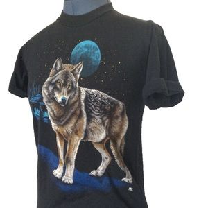 Vintage Wolf T-Shirt, 1980s Black Tee